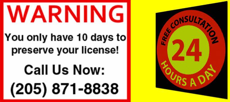 AL 10 Day DUI Notice License Suspension